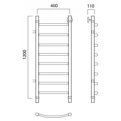 Водяной полотенцесушитель Роснерж Дуга L104001 120x40 с боковым подключением