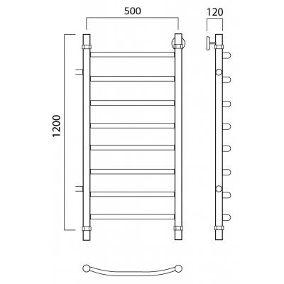 Водяной полотенцесушитель Роснерж Дуга L104001 120x50 с боковым подключением
