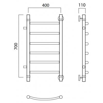 Водяной полотенцесушитель Роснерж Дуга L104001 70x40 с боковым подключением