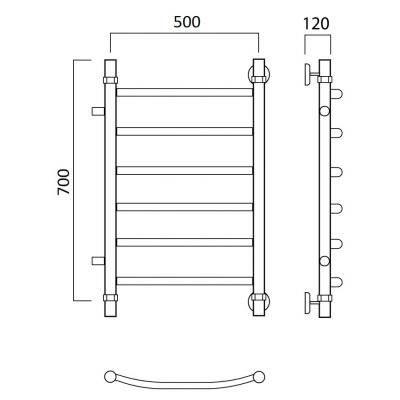 Водяной полотенцесушитель Роснерж Дуга L104001 70x50 с боковым подключением