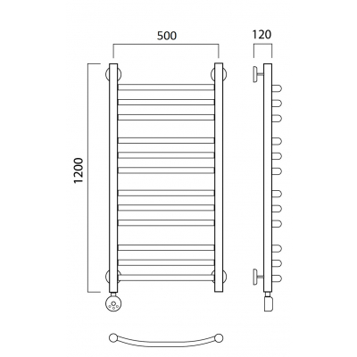 Электрический полотенцесушитель Роснерж Дуга L204010 120x50 групповой