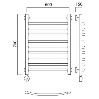 Полотенцесушитель Роснерж Дуга L204010 70x60 групповой