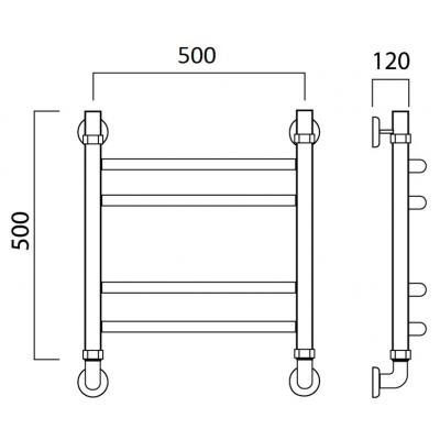 Водяной полотенцесушитель Роснерж Дуга L104010 50x50 групповой