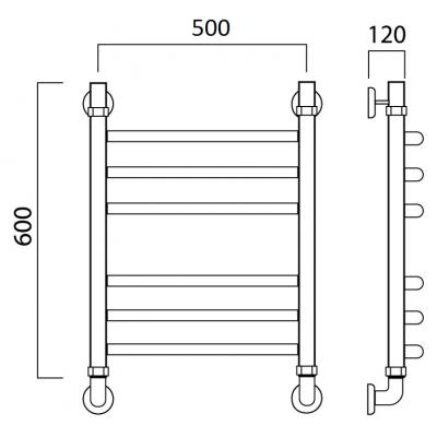 Водяной полотенцесушитель Роснерж Дуга L104010 60x50 групповой