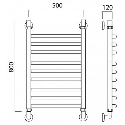 Водяной полотенцесушитель Роснерж Дуга L104010 80x50 групповой