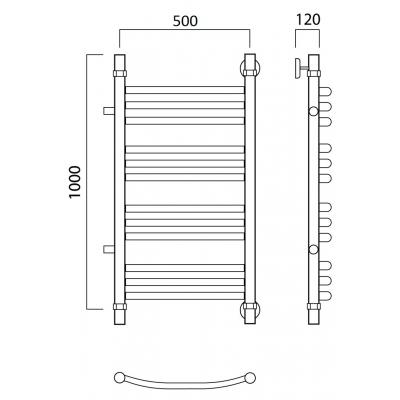 Водяной полотенцесушитель Роснерж Дуга L104011 100x50 с боковым подключением групповой