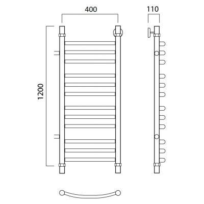 Водяной полотенцесушитель Роснерж Дуга L104011 120x40 с боковым подключением 500 мм, групповой