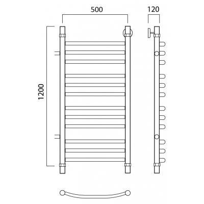 Водяной полотенцесушитель Роснерж Дуга L104011 120x50 с боковым подключением групповой