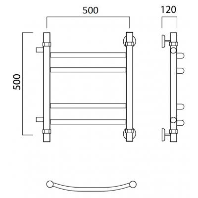 Водяной полотенцесушитель Роснерж Дуга L104011 50x50 с боковым подключением групповой