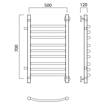 Водяной полотенцесушитель Роснерж Дуга L104011 70x50 с боковым подключением групповой
