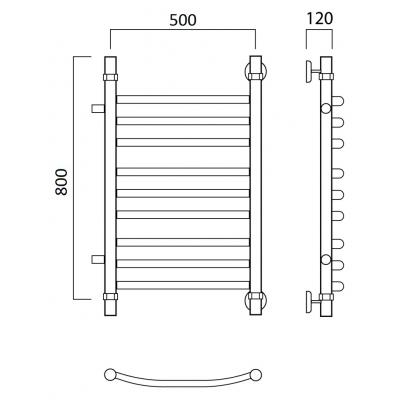 Водяной полотенцесушитель Роснерж Дуга L104011 80x50 с боковым подключением групповой