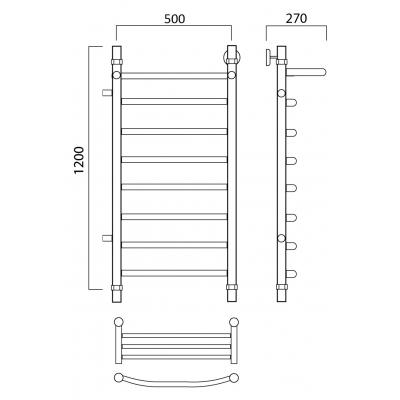 Водяной полотенцесушитель Роснерж Дуга L104101 120x50 с полкой и боковым подключением