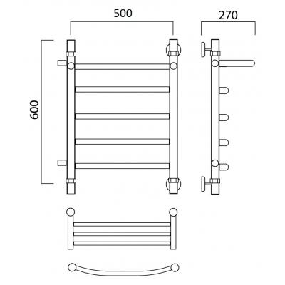 Водяной полотенцесушитель Роснерж Дуга L104101 60x50 с полкой и боковым подключением