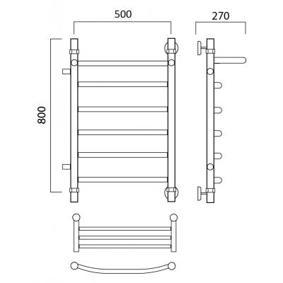 Водяной полотенцесушитель Роснерж Дуга L104101 80x50 с полкой и боковым подключением