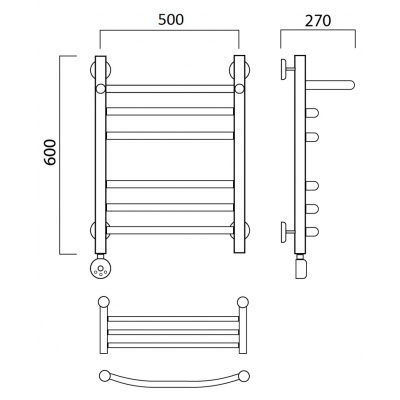 Электрический полотенцесушитель Роснерж Дуга L204110 60x50 с полкой групповой