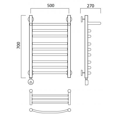 Электрический полотенцесушитель Роснерж Дуга L204110 70x50 с полкой групповой