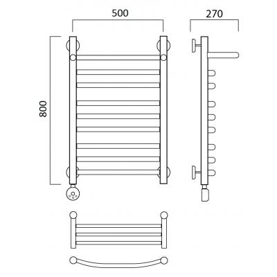 Электрический полотенцесушитель Роснерж Дуга L204110 80x50 с полкой групповой