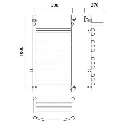 Водяной полотенцесушитель Роснерж Дуга L104111 100x50 с полкой и боковым подключением групповой