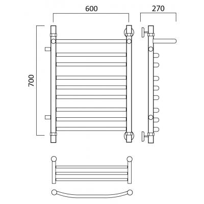 Водяной полотенцесушитель Роснерж Дуга L104111 70x60 с полкой и боковым подключением групповой