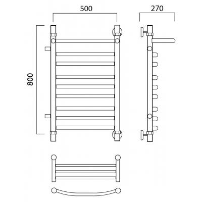 Водяной полотенцесушитель Роснерж Дуга L104111 80x50 с полкой и боковым подключением групповой