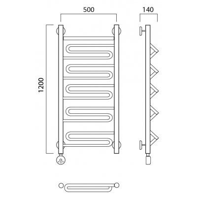Электрический полотенцесушитель Роснерж Зиг-Заг L205000 120x50