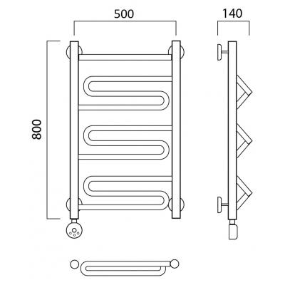 Электрический полотенцесушитель Роснерж Зиг-Заг L205000 80x50