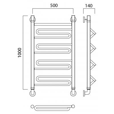 Водяной полотенцесушитель Роснерж Зиг-Заг L105000 100x50