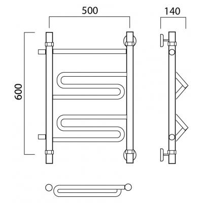 Водяной полотенцесушитель Роснерж Зиг-Заг L105001 60x50 с боковым подключением