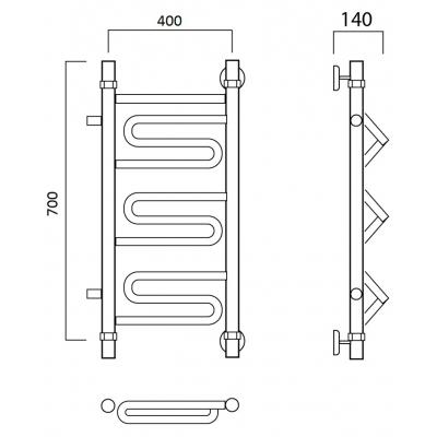 Водяной полотенцесушитель Роснерж Зиг-Заг L105001 70x40 с боковым подключением