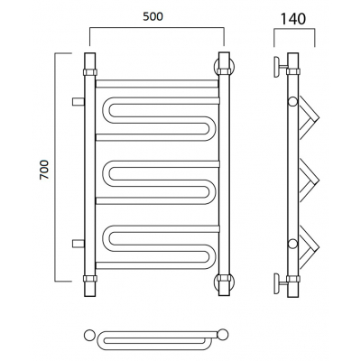 Водяной полотенцесушитель Роснерж Зиг-Заг L105001 70x50 с боковым подключением
