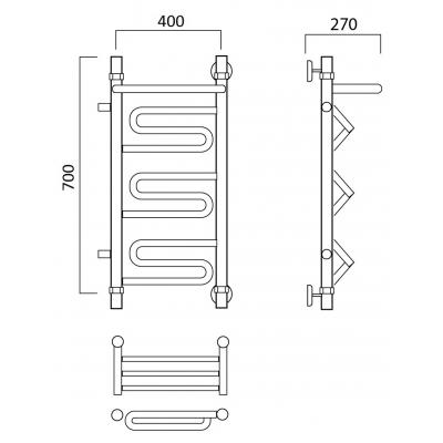 Водяной полотенцесушитель Роснерж Зиг-Заг L105101 70x40 с полкой и боковым подключением