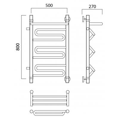 Водяной полотенцесушитель Роснерж Зиг-Заг L105101 80x50 с полкой и боковым подключением