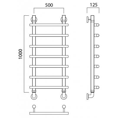 Водяной полотенцесушитель Роснерж Нео 1 L106000 100x50