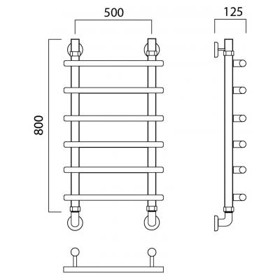 Водяной полотенцесушитель Роснерж Нео 1 L106000 80x50