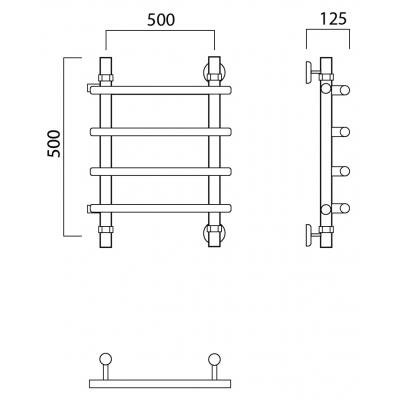 Водяной полотенцесушитель Роснерж Нео 1 L106001 50x50 с боковым подключением