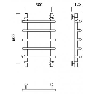 Водяной полотенцесушитель Роснерж Нео 1 L106001 60x50 с боковым подключением