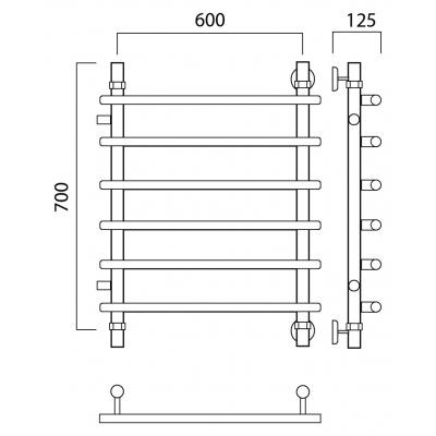 Водяной полотенцесушитель Роснерж Нео 1 L106001 70x60 с боковым подключением