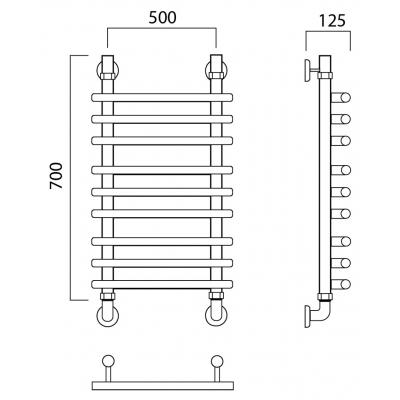 Водяной полотенцесушитель Роснерж Нео 1 L106010 70x50 групповой