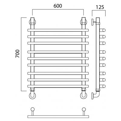 Водяной полотенцесушитель Роснерж Нео 1 L106010 70x60 групповой
