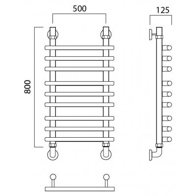 Водяной полотенцесушитель Роснерж Нео 1 L106010 80x50 групповой