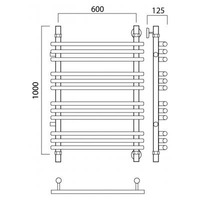 Полотенцесушитель Роснерж Нео 1 L106011 100x60 с боковым подключением групповой