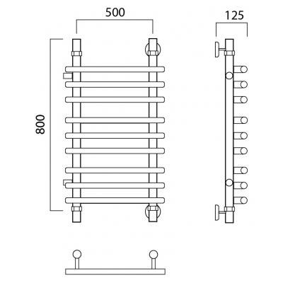 Полотенцесушитель Роснерж Нео 1 L106011 80x50 с боковым подключением групповой