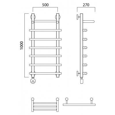Электрический полотенцесушитель Роснерж Нео 1 L206100 100x50 с полкой