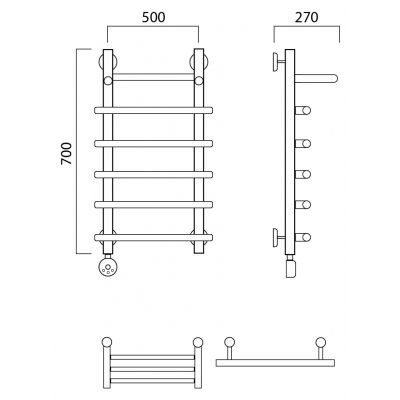 Электрический полотенцесушитель Роснерж Нео 1 L206100 70x50 с полкой