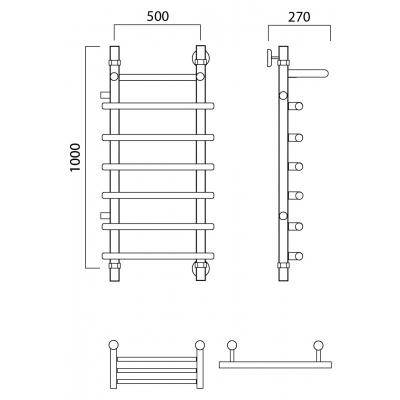 Водяной полотенцесушитель Роснерж Нео 1 L106101 100x50 с полкой и боковым подключением