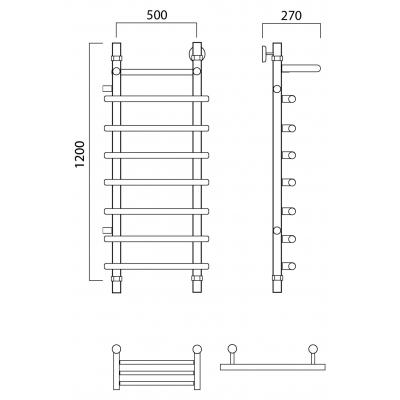 Водяной полотенцесушитель Роснерж Нео 1 L106101 120x50 с полкой и боковым подключением