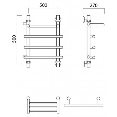 Водяной полотенцесушитель Роснерж Нео 1 L106101 50x50 с полкой и боковым подключением
