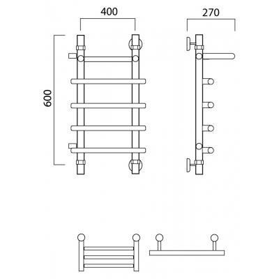 Водяной полотенцесушитель Роснерж Нео 1 L106101 60x40 с полкой и боковым подключением