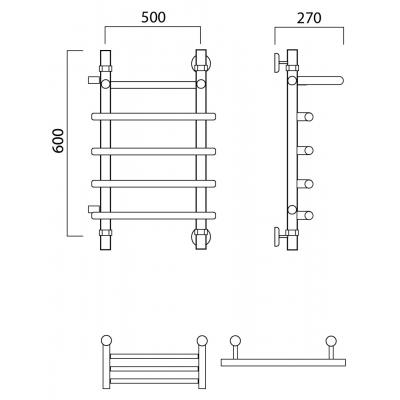 Водяной полотенцесушитель Роснерж Нео 1 L106101 60x50 с полкой и боковым подключением