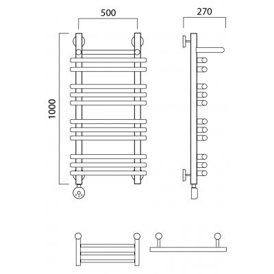 Электрический полотенцесушитель Роснерж Нео 1 L206110 100x50 с полкой групповой